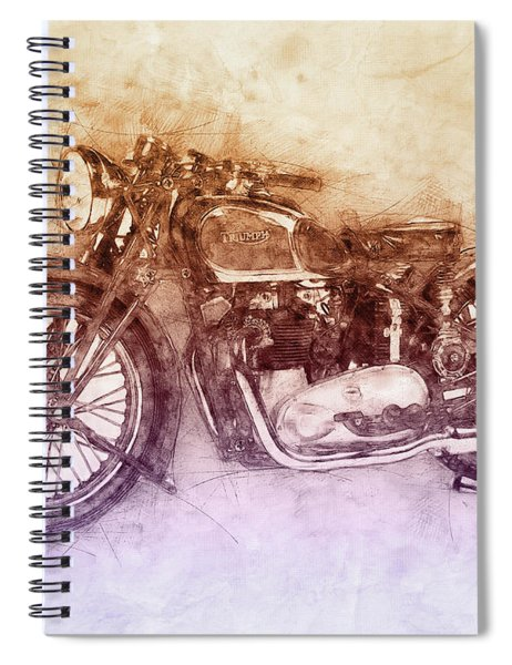 Triumph Speed Twin 2 - 1937 - Vintage Motorcycle Poster - Automotive Art Spiral Notebook