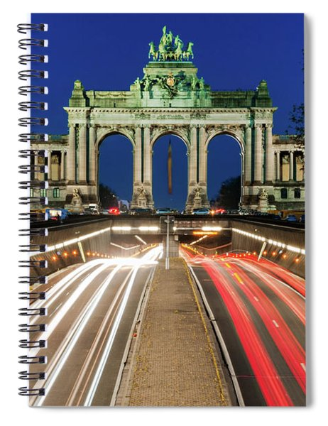 Spiral Notebook featuring the photograph Arcade Du Ciquantenaire At Blue Hour by Barry O Carroll