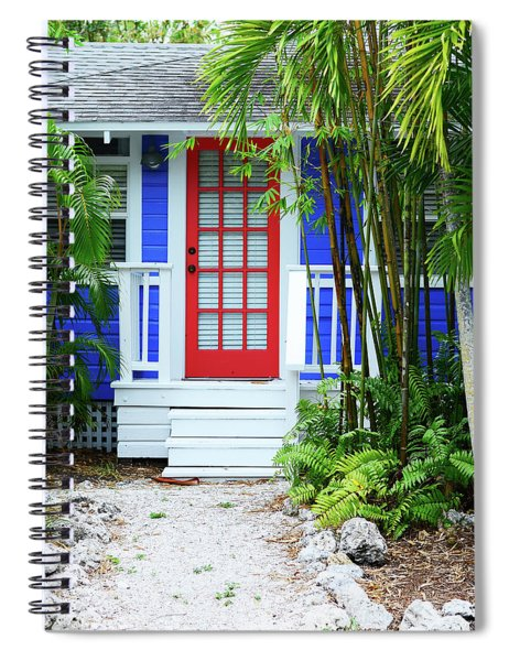 Tropical Home Photography - The Red Door - Sharon Cummings Spiral Notebook