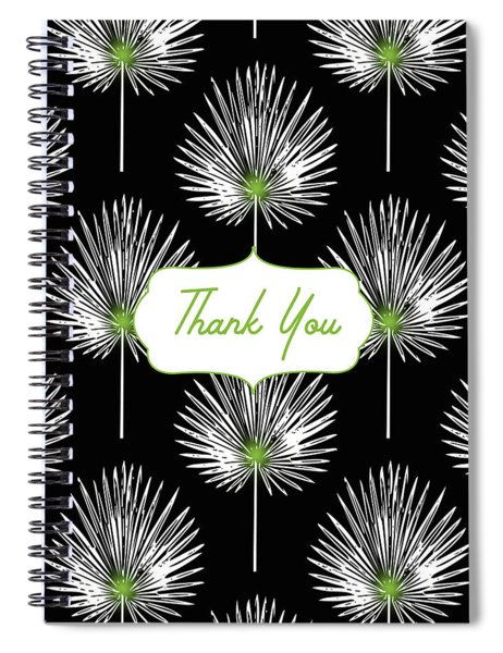 Tropical Leaf Thank You Black- Art By Linda Woods Spiral Notebook