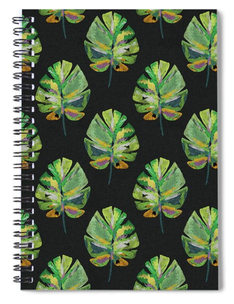 Tropical Leaves On Black- Art By Linda Woods Spiral Notebook
