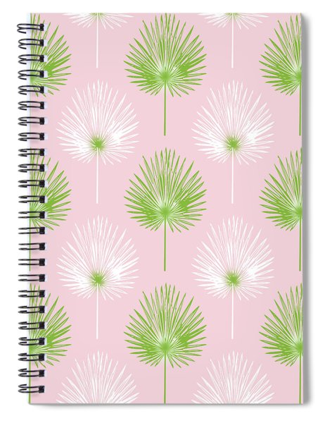 Tropical Leaves On Pink 2- Art By Linda Woods Spiral Notebook