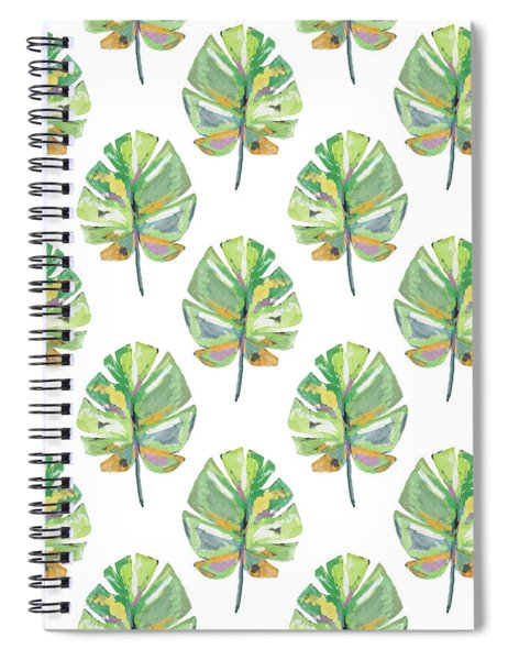Tropical Leaves On White- Art By Linda Woods Spiral Notebook