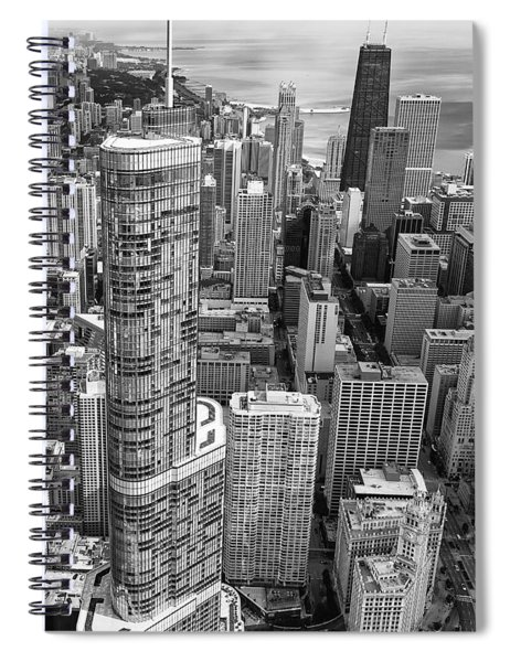 Trump Tower And John Hancock Aerial Black And White Spiral Notebook