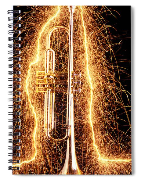 Trumpet Outlined With Sparks Spiral Notebook