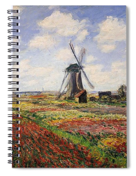 Tulip Fields With The Rijnsburg Windmill Spiral Notebook