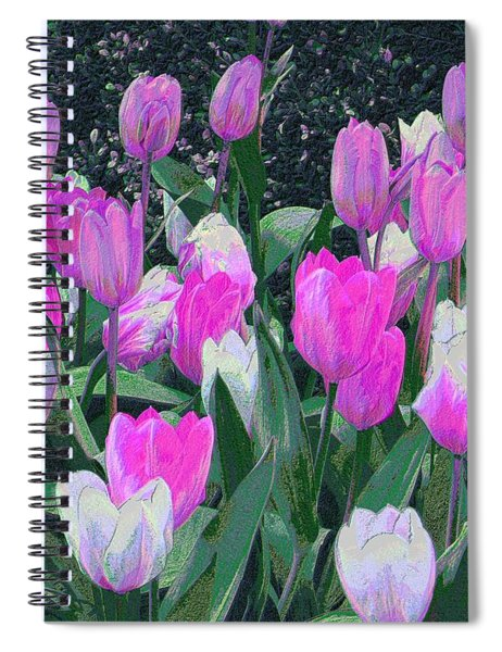 Spiral Notebook featuring the digital art Tulips 327dp by Brian Gryphon