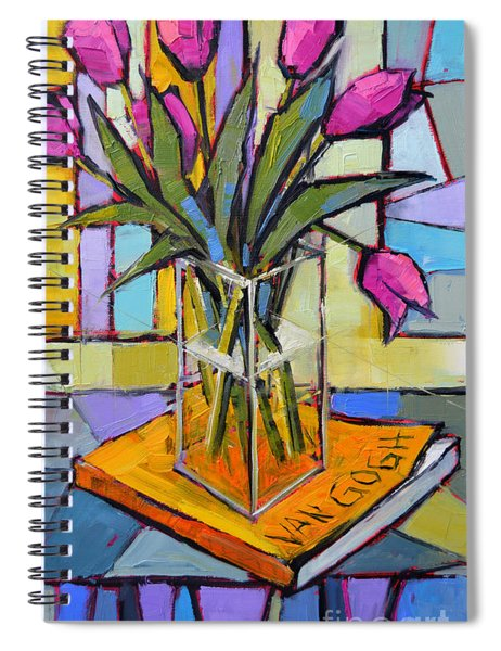 Tulips And Van Gogh - Abstract Still Life Spiral Notebook