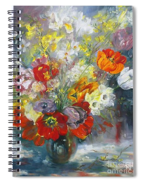 Tulips, Narcissus And Forsythia Spiral Notebook