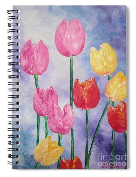 Ten  Simple  Tulips  Pink Red Yellow                                Flying Lamb Productions   Spiral Notebook