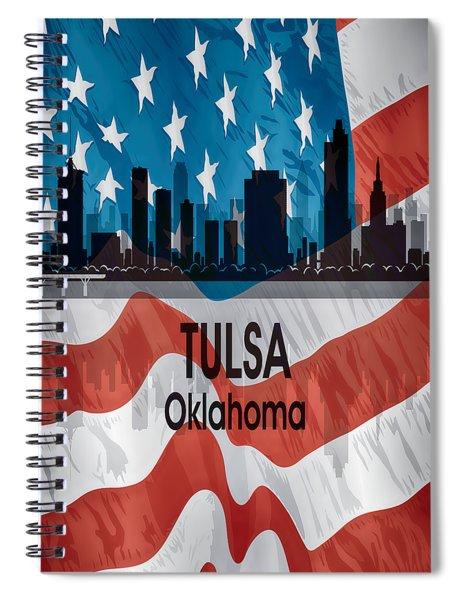Tulsa Ok American Flag Vertical Spiral Notebook