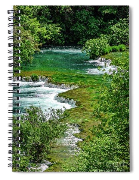 Turqouise Waterfalls Of Skradinski Buk At Krka National Park In Croatia Spiral Notebook