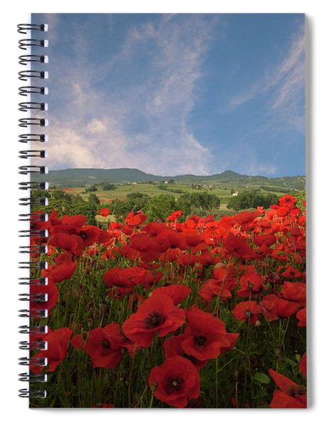 Tuscan Poppy Field Spiral Notebook