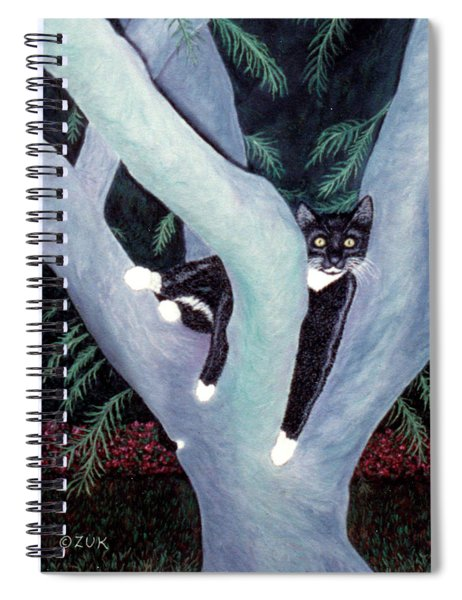 Tuxedo Cat In Mimosa Tree Spiral Notebook by Karen Zuk Rosenblatt