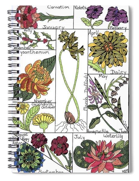 Twelve Month Flower Box Spiral Notebook