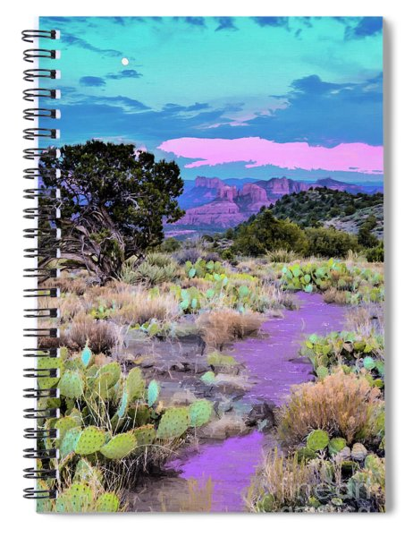 Twilight Over The Road To Cathedral Rock - Sedona - Northhern Arizona American Desert Southwest Spiral Notebook