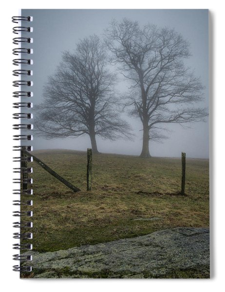 Twin Trees Late Fall Foggy Morning Spiral Notebook