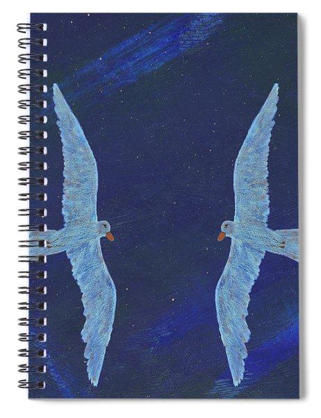 Spiral Notebook featuring the painting Twins by Manuel Sueess