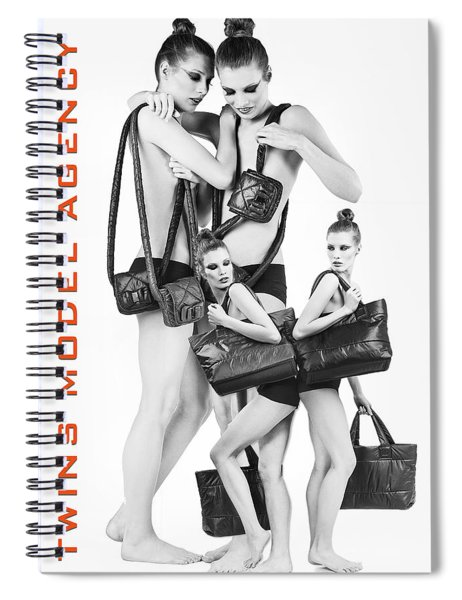 Spiral Notebook featuring the digital art Twins Model Agency by ISAW Company
