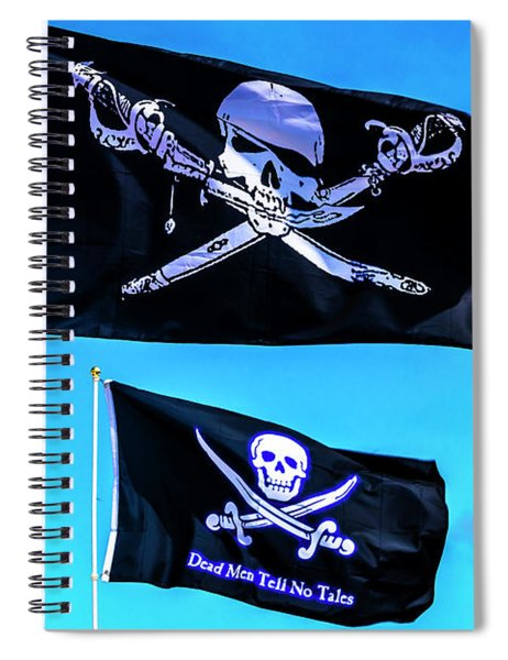 Two Black Pirate Flags Spiral Notebook
