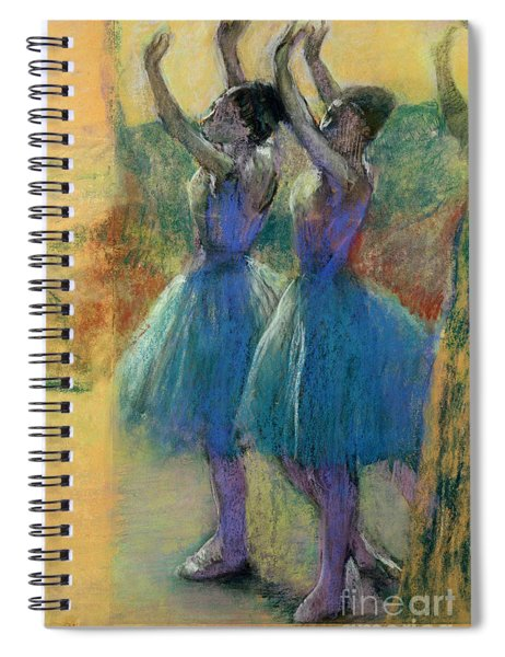 Two Blue Dancers Spiral Notebook by Edgar Degas