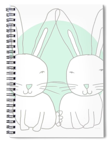 Two Bunnies- Art By Linda Woods Spiral Notebook