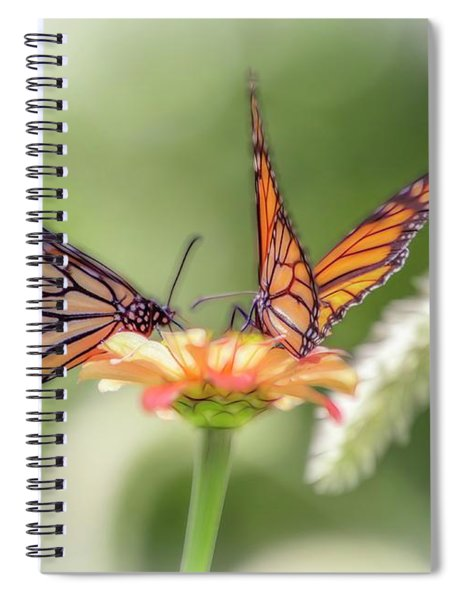 Two Butterflys Working On A Flower. Spiral Notebook