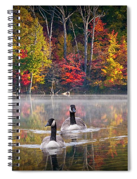 Two Canadian Geese Swimming In Autumn Spiral Notebook