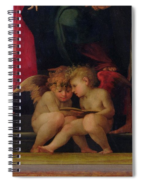 Two Cherubs Reading Detail From Madonna And Child With Saints Spiral Notebook