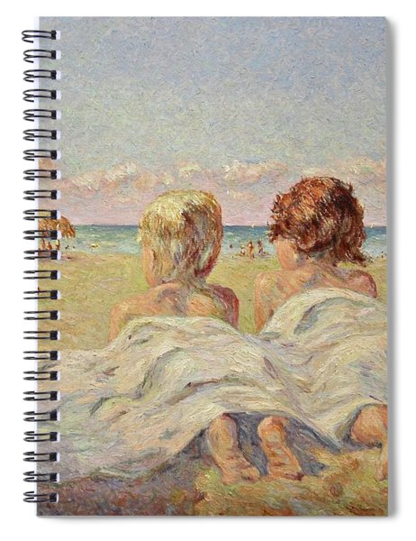 Two Children On The Beach Spiral Notebook