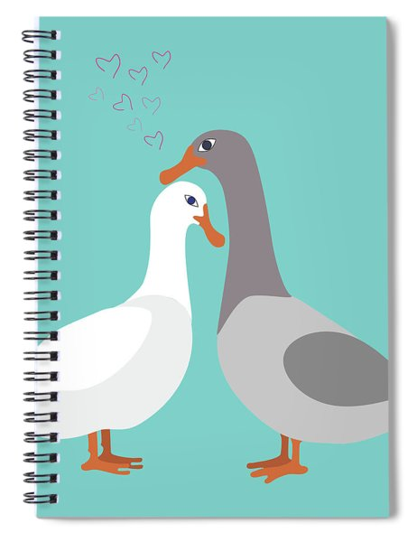 Two Ducks In Love Spiral Notebook