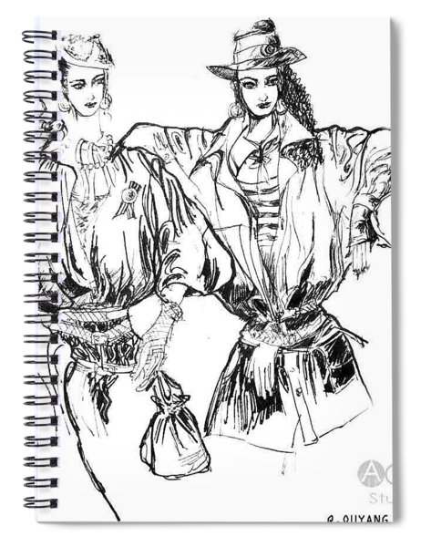 Two Fashion Girls Spiral Notebook