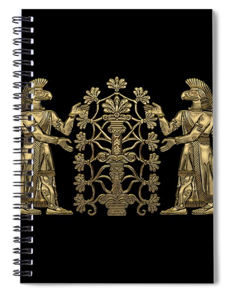 Two Instances Of Gold God Ninurta With Tree Of Life Over Black Canvas Spiral Notebook