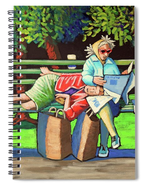 Two Ladies On Bench Spiral Notebook