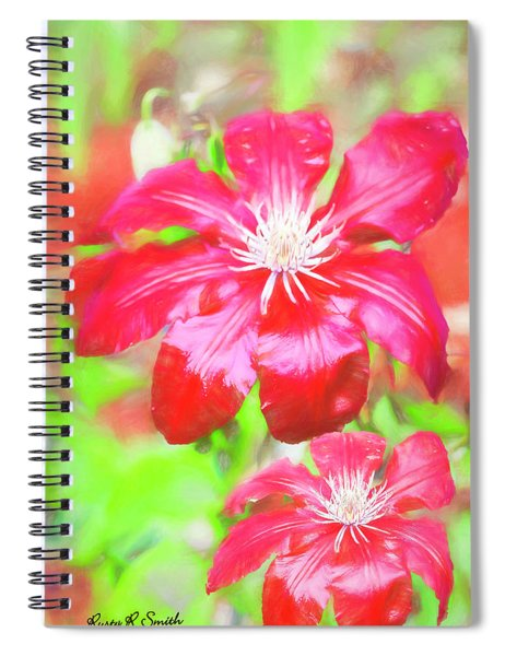 Two Red Clematis In The Rain. Spiral Notebook