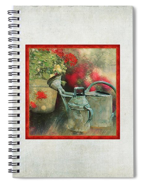 Two Watering Cans In The Garden Spiral Notebook