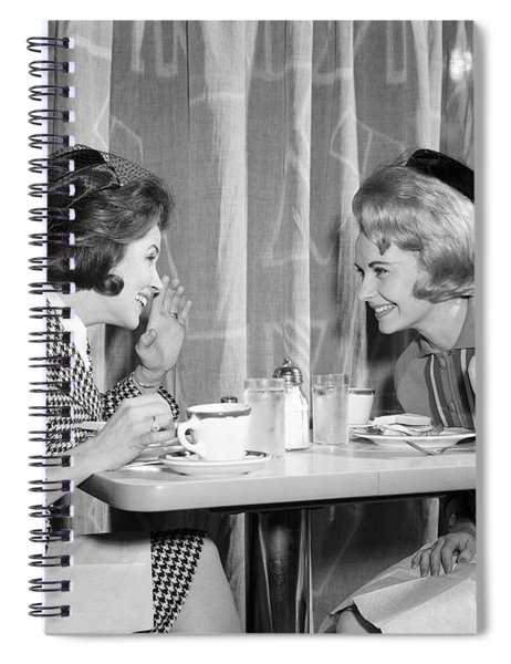 Two Women Gossiping At Lunch, C.1960s Spiral Notebook