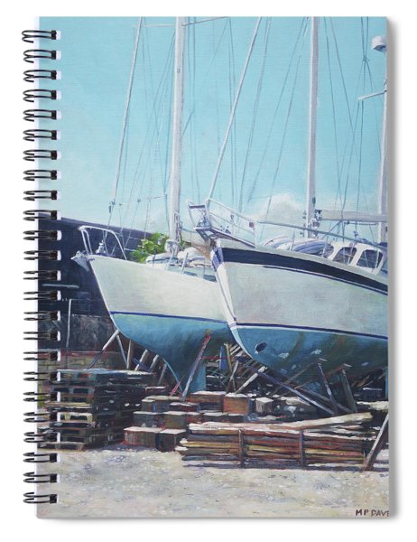 Two Yachts Receiving Maintenance In A Yard Spiral Notebook