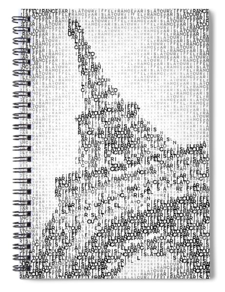 Typographic Art - Paris Eiffel Tower  Spiral Notebook