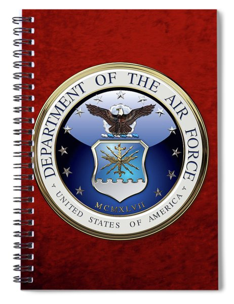 U. S.  Air Force  -  U S A F Emblem Over Red Velvet Spiral Notebook
