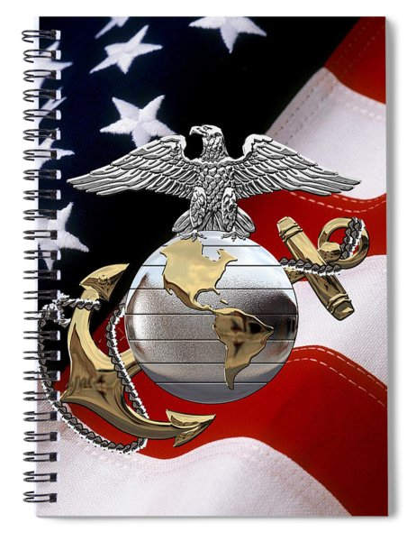 U S M C Eagle Globe And Anchor - C O And Warrant Officer E G A Over U. S. Flag Spiral Notebook