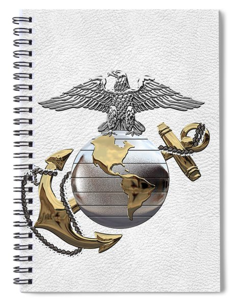 U S M C Eagle Globe And Anchor - C O And Warrant Officer E G A Over White Leather Spiral Notebook