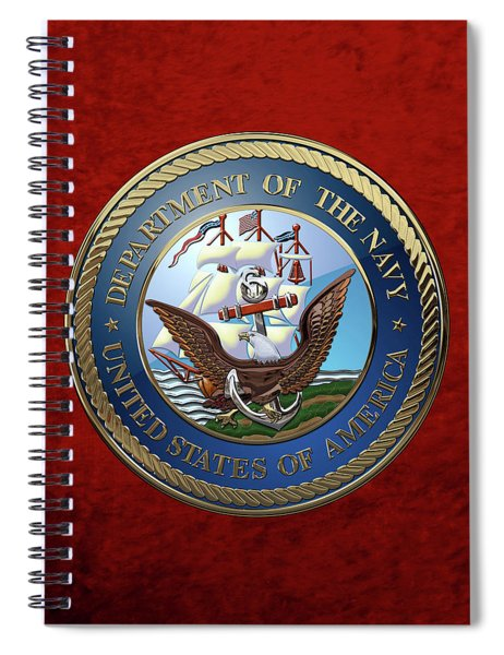 U. S.  Navy  -  U S N Emblem Over Red Velvet Spiral Notebook