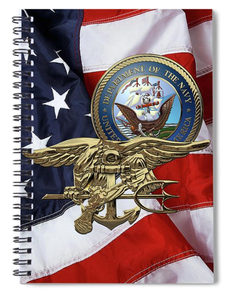 U. S. Navy S E A Ls Trident Over American Flag  Spiral Notebook
