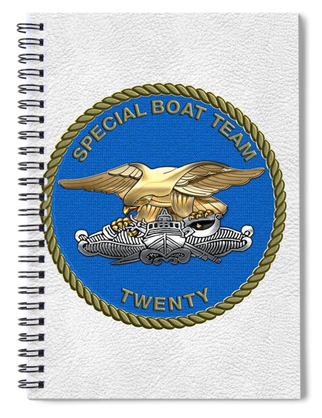U. S. Navy S W C C - Special Boat Team 20   -  S B T 20   Patch Over White Leather Spiral Notebook