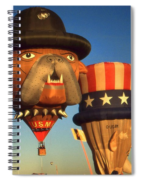 American Hot Air Balloons - Uncle Sam And Bull Dog Spiral Notebook