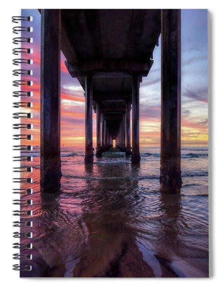 Under The Pier Sunset Spiral Notebook