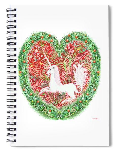 Unicorn Heart With Millefleurs Spiral Notebook