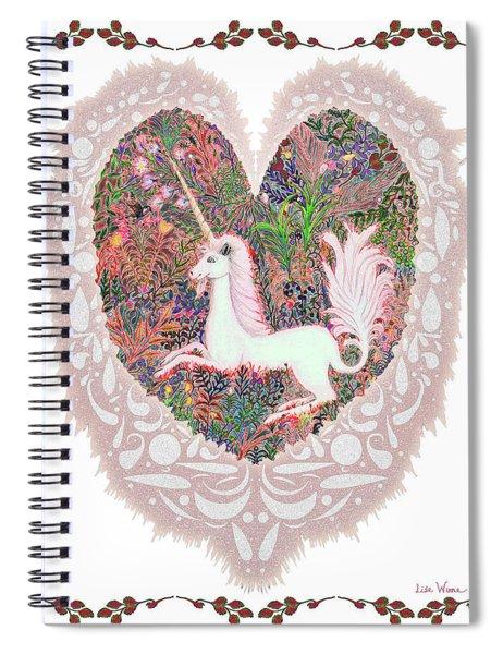 Unicorn In A Pink Heart Spiral Notebook