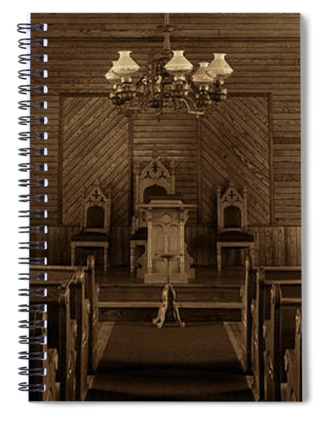 Union Christian Church Sanctuary - Sepia Panoramic Spiral Notebook